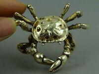 Exquisite Collect Old Tibet Silver Copper Carve Vivid Crab Exquisite Rare Statue