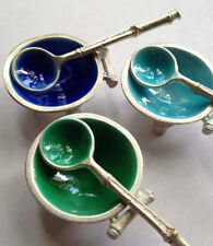 Sterling silver individual salt dishes and spoons, cobalt enamel, aqua and green