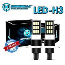 IRONWALLS H3 6000K White COB 100W High Power LED Fog Light Driving Bulb Kit DRL