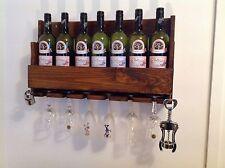 BOTTIGLIA 4. fatto a mano in legno rustico bicchieri da vino rack cremagliera Bar Pub Club Restaurant