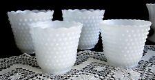 VINTAGE COLLECTION OF 4 HOBNAIL MILK WHITE GLASS VASES BOWLS