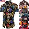 Men's Summer Hawaiian Casual Dress Shirt Men Floral Short Sleeve Shirts Tops Tee