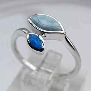 Stunning Sterling Silver Adjustable Leaf Ring Blue Larimar & Fire Opal Stones