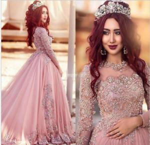Elegant Pink Muslim Wedding Dress plus size Dress Custom size 6-8-10-12-14-18+