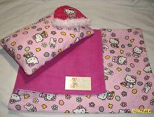 "Girls Baby Feet 28x19""Hello Kitty 2-sided Handmade Fleece & Cotton Blanket Set"
