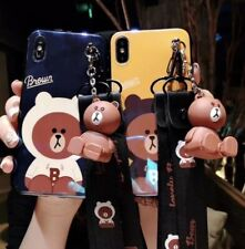 Line Friends Iphone X Yellow Brown Pink Blue  Kiss Phone Case Bear Stand