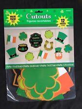 12 x St Patricks Cutout Party Decorations Glitter Finish Irish Party Decorations