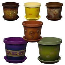 Coloured Plant Pots+ Saucer,Orginal design,Plastic,Wedding Planter Ceramic look