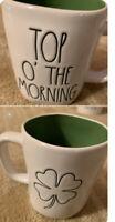 """RAE DUNN St Patricks Double sided TOP O' THE MORNING""""& Shamrock Green Inside Mug"""