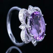 Engagement Wedding Oval 9x14mm Amethyst Real Diamonds Ring Solid 14k White Gold