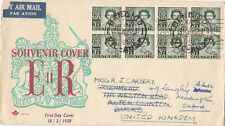 Stamps 1959 QE2 3&1/2d green in block of 8 on Royal FDC sent England re-directed