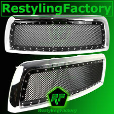 10-12 Dodge RAM 2500+3500+HD Replacement Rivet+Black Mesh Grille+Chrome Shell