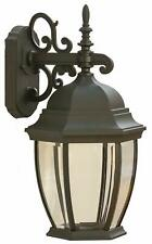 CORAMDEO Outdoor Large Hex Curved Glass LED Wall Lantern for Porch 100W of Light
