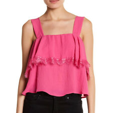 NEW NWT CAD Retro Pink Raspberry Lace Detail Popover Tank Halter (L) Large $36