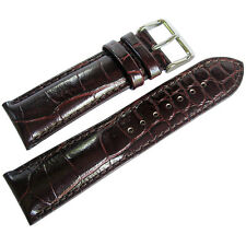 22mm deBeer Mens Short Brown Crocodile-Grain Leather Watch Band Strap