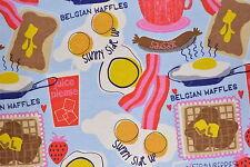 Blue Breakfast Flannelette Fabric 108cm Wide (per metre)