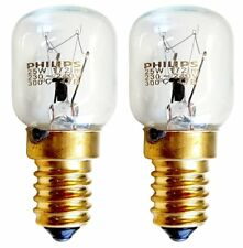 2x 25w PHILIPS T25 Genuine Oven Lamps Cooker Light Bulbs 240v SES E14 300 Degree
