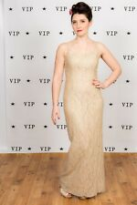 Vintage champagne & gold laced evening dress cocktail dress with diamante straps