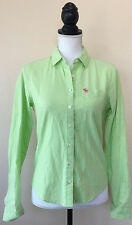 Abercrombie & Fitch Women's Light Green Classic Button Front Long Sleeve Top S