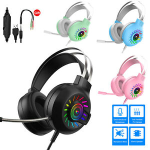 M10 Gaming Headset RGB LED Wired Headphones Stereo with Mic For One/PS4 PC Xbox