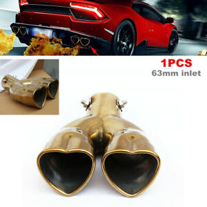 63mm inlet Heart Shaped Universal Car Exhaust Muffler Tip Stainless Steel Pipe