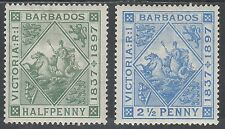 BARBADOS 1897 QV JUBILEE 1/2D AND 21/2D