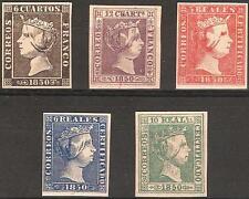 EDIFIL Nº 1/5* serie completa REINA ISABEL II,1850  (REPLICA DE LUJO)