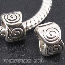 50pcs Tibetan Silver Tone Spacer Beads Fit European Charm Bracelet Spiral Murano