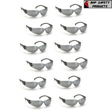 SAFETY GLASSES SILVER MIRROR LENS SUNGLASSES PYRAMEX INTRUDER S4170S (12 PAIR)