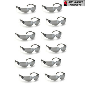 (12 PAIR) PYRAMEX INTRUDER SAFETY GLASSES SILVER MIRROR LENS SUNGLASSES S4170S