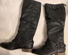 """Breckelles ladies Black 1""""Block Heel back zip Knee Boot women Size 6.5."""