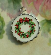 Vintage Recycled Broken China~Sweet Christmas Wreath~Charm~Round~Neckla ce