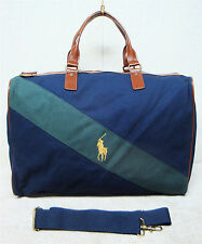 POLO RALPH LAUREN-Overnight Duffle Carry On Travel Gym Bag-Navy Blue Green Brown