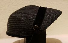 Authentic Vintage 1950s Black Straw Cap