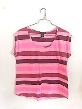 Calvin Klein Jeans Striped T-Shirt Pink Purple L EUC Cotton Blend