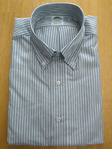 NWOT Brooks Brothers Green Ground Stripe Button Down 15.5-31 Milano    MSRP $140