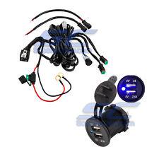 Blue USB Charger Light Bar Rocker Switch Harness UTV RZR 1000 Crew RZR4 800 Part