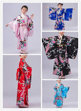 New Retro Girl Kimono Japanese Kids Yukata Obi Retro Cosplay Bathrobe Dress Hot