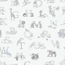 G56536 - Just 4 Enfants 2 Lettres, Animaux Gris Galerie Papier Peint