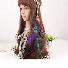 Indian Fashion Peacock Feather Leaf Hairdress Weave Headpieces Headband Jian