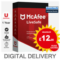 McAfee LiveSafe 2020 (Unlimited Devices/1Year) Genuine Authentic License Windows