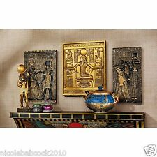 SET OF 3 Ancient Egyptian Pharaohs Tutankhamen Deities Horus & Isis Wall plaque