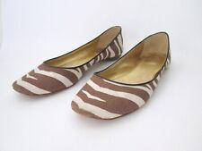 J Crew brown beige zebra stripe print linen ballet flats shoes Size 9.5