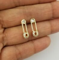 14K Yellow Gold White Round Cz Pin Stud Earrings