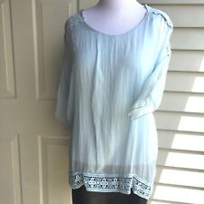 NWOT  100% BABY BLUE SILK WITH BUILD-IN  KNIT TOP BLOUSE SIZE L