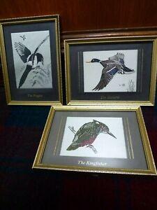 Vintage Macclesfield silk pictures Magpie Mallard Kingfisher Cartwright Sheldon