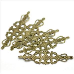 100pcs Bronze Tone Filigree Wraps Alloy Connectors Embellishments 6.5x2cm
