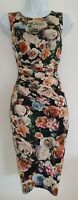 Womens Phase Eight Black Floral Gathered Draped Ruched Wrap Bodycon Dress 8 Vgc.