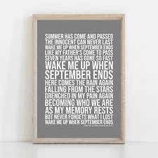 More details for green day wake me up when september ends song lyrics poster print wall art