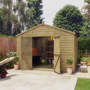8x10 Pressure Treated Apex T&G Wooden Windowless Hobbyist Garden Shed